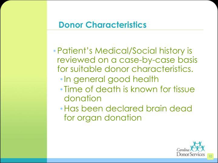 Donor Characteristics