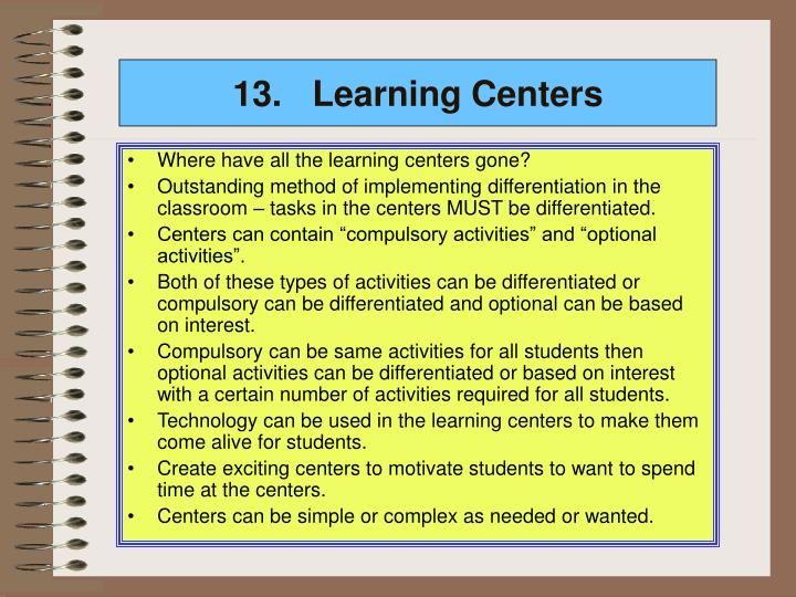 13.Learning Centers