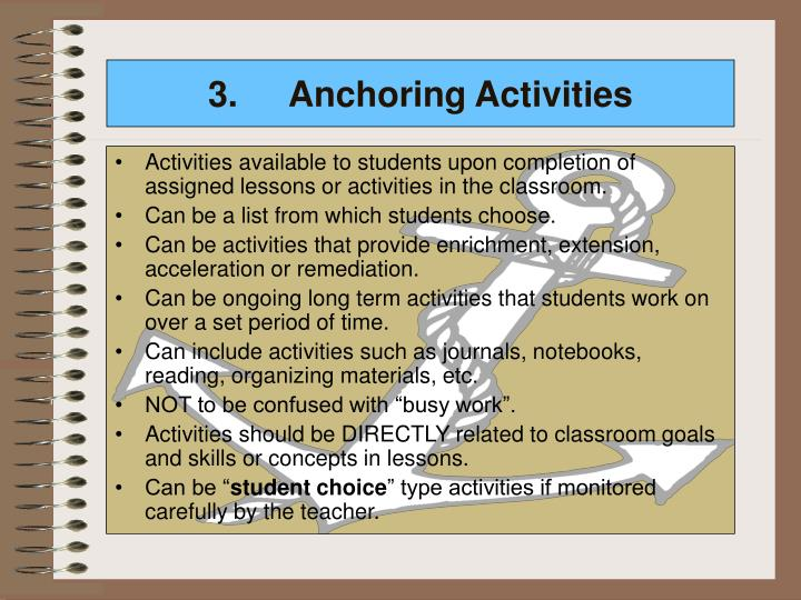 3.Anchoring Activities