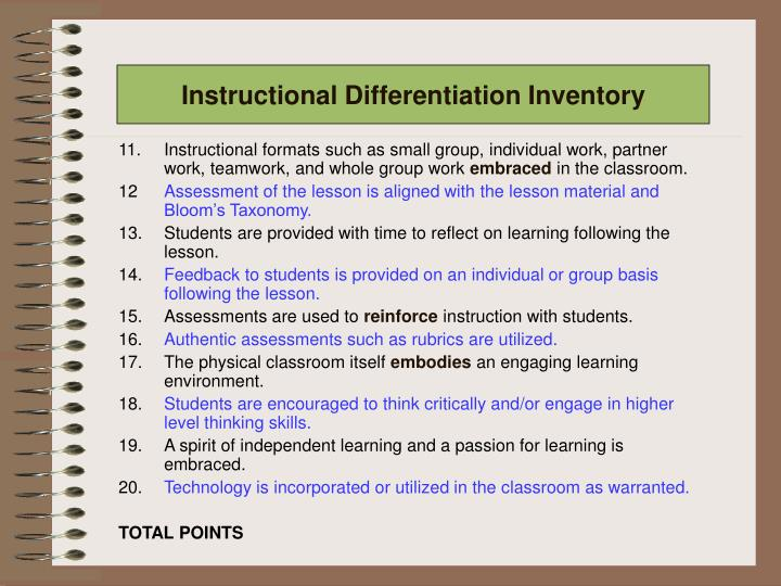Instructional Differentiation Inventory