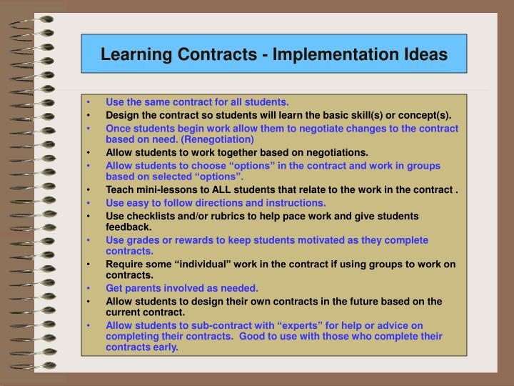 Learning Contracts - Implementation Ideas