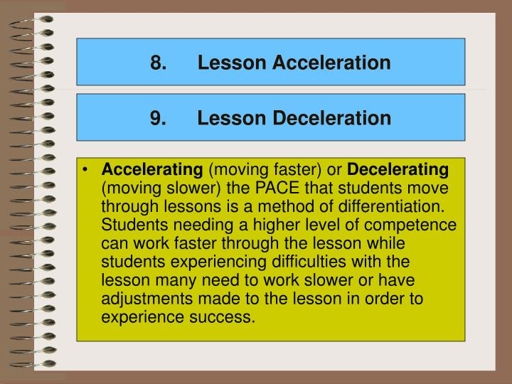 Lesson Acceleration