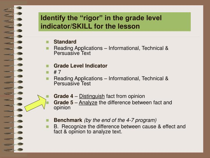 "Identify the ""rigor"" in the grade level indicator/SKILL for the lesson"