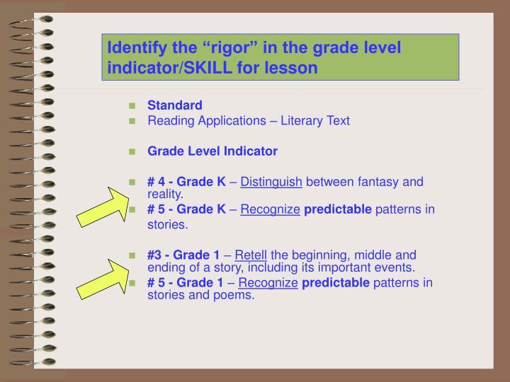 "Identify the ""rigor"" in the grade level indicator/SKILL for lesson"