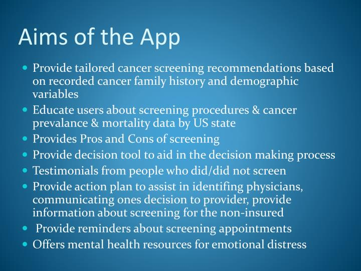 Aims of the app