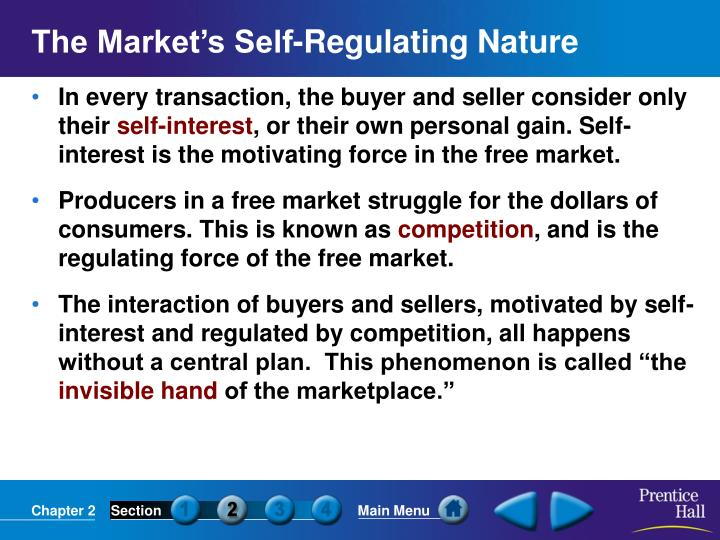 The Market's Self-Regulating Nature