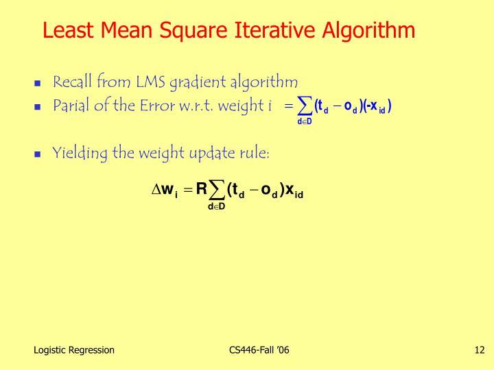 Least Mean Square Iterative Algorithm
