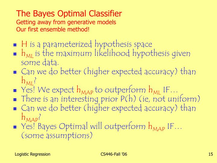 The Bayes Optimal Classifier