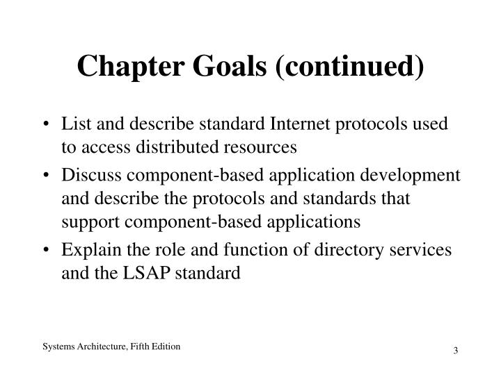 Chapter Goals (continued)