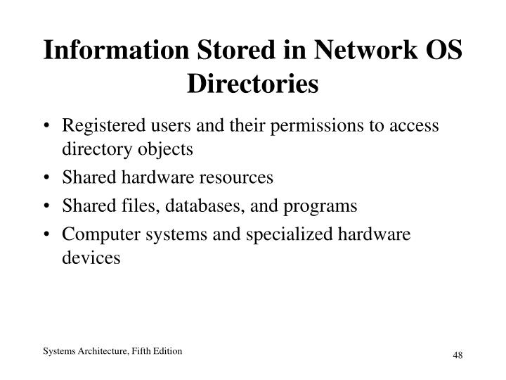 Information Stored in Network OS Directories