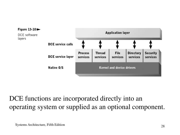 DCE functions are incorporated directly into an operating system or supplied as an optional component.