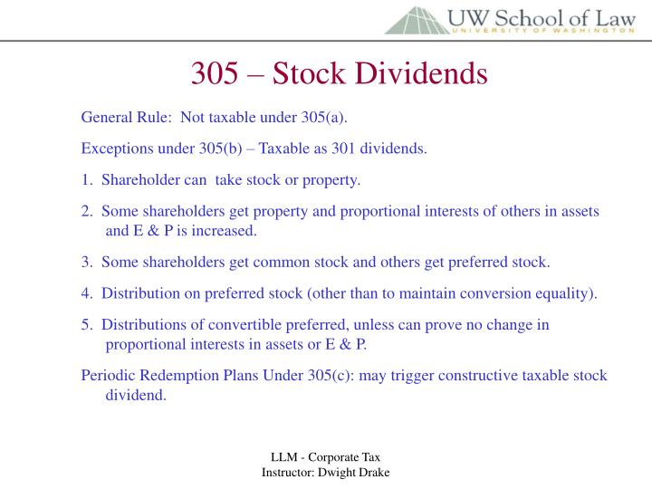 305 – Stock Dividends