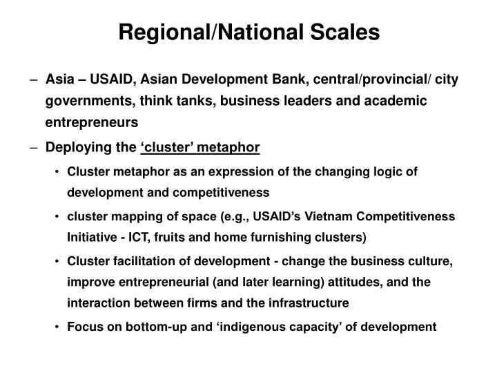 Regional/National Scales