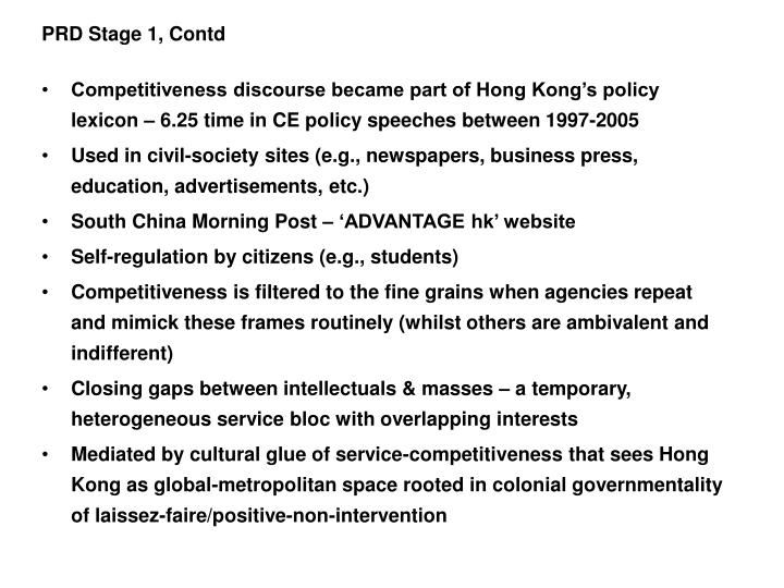 PRD Stage 1, Contd