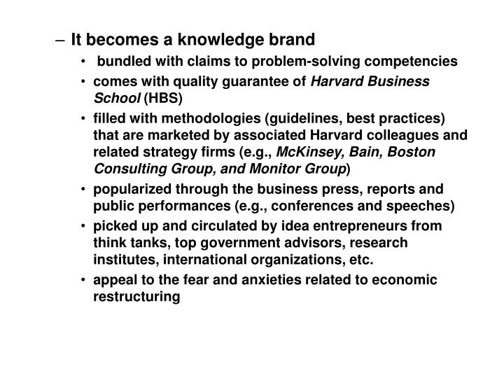 It becomes a knowledge brand