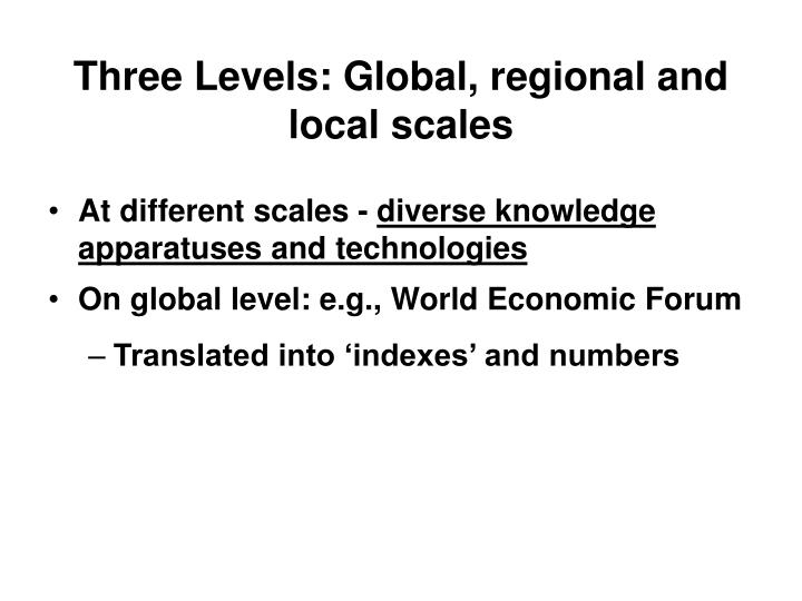 Three Levels: Global, regional and local scales