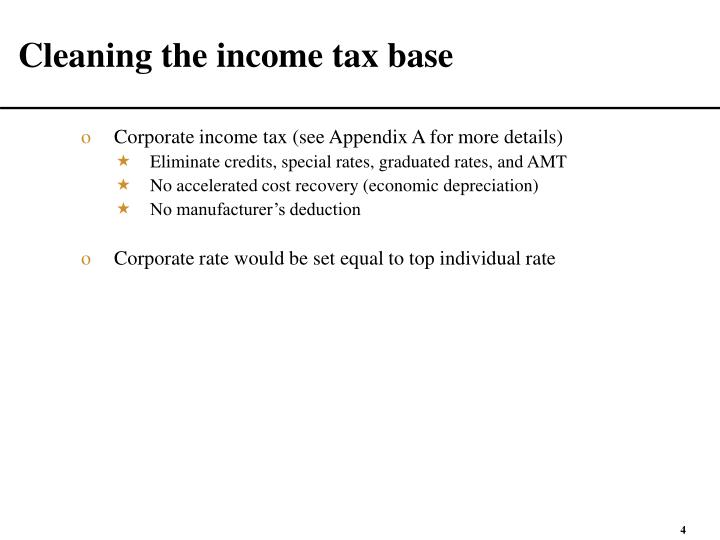 Cleaning the income tax base