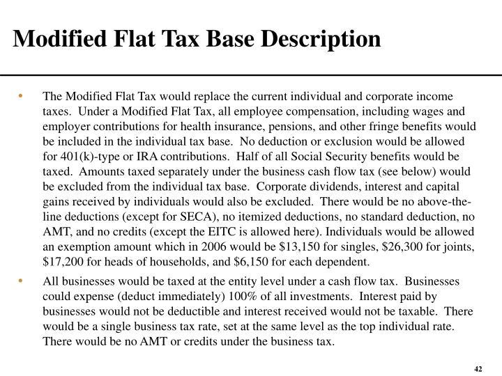 Modified Flat Tax Base Description