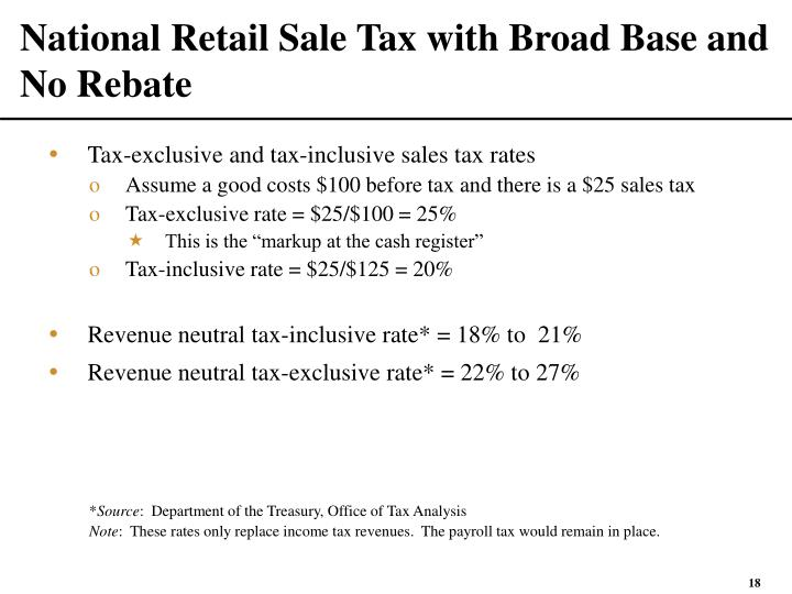 National Retail Sale Tax with Broad Base and No Rebate
