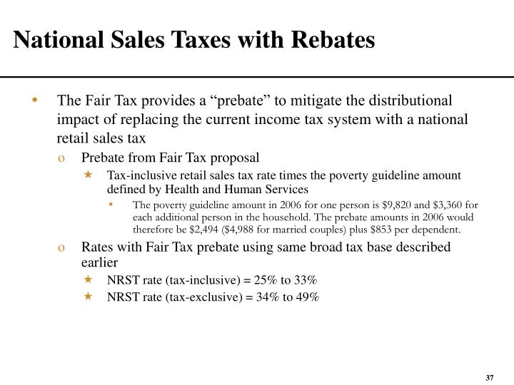 National Sales Taxes with Rebates