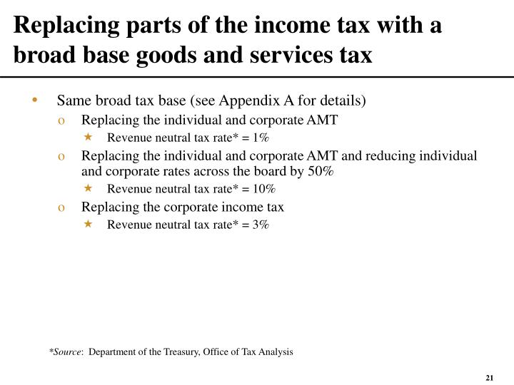 Replacing parts of the income tax with a broad base goods and services tax