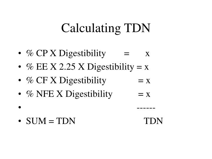 Calculating TDN