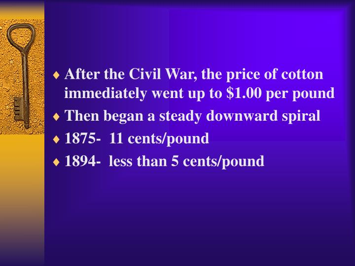 After the Civil War, the price of cotton immediately went up to $1.00 per pound