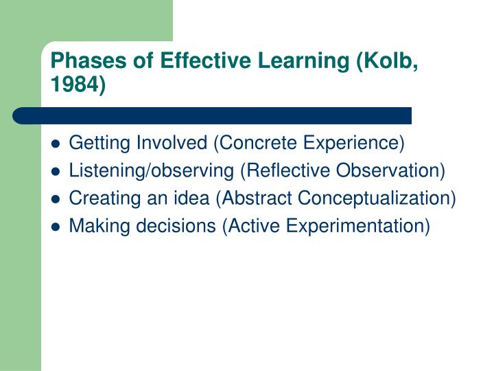 Phases of Effective Learning (Kolb, 1984)