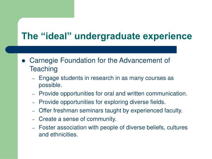 "The ""ideal"" undergraduate experience"