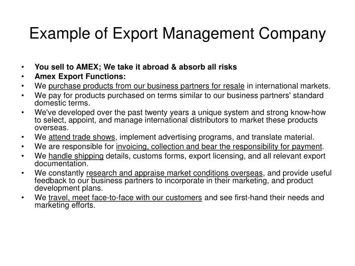Example of Export Management Company