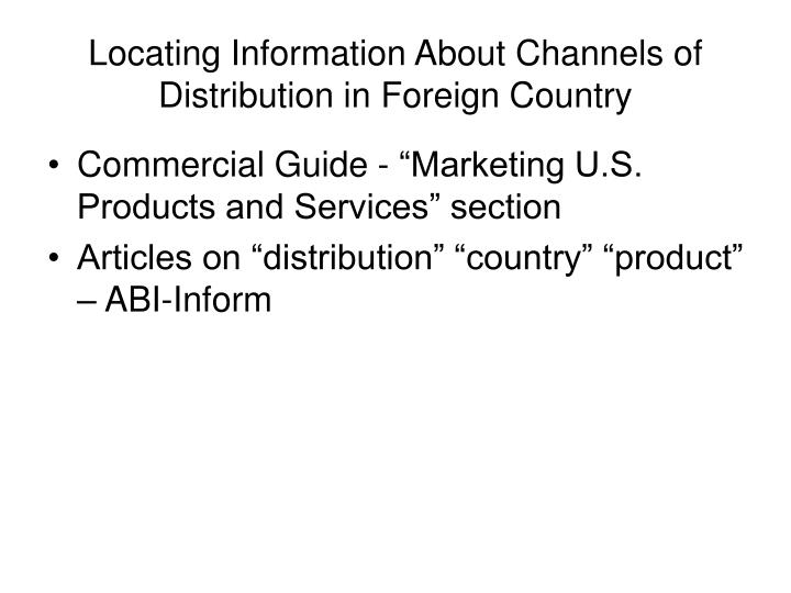 Locating Information About Channels of Distribution in Foreign Country