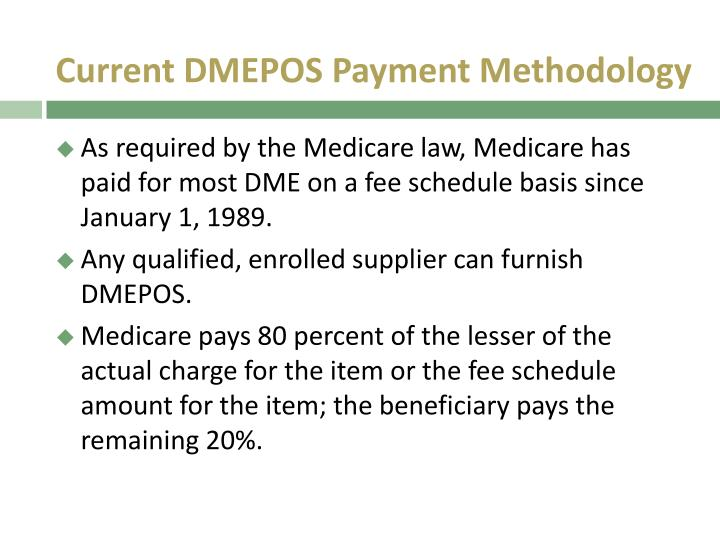 Current DMEPOS Payment Methodology