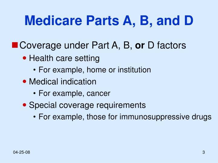Medicare Parts A, B, and D
