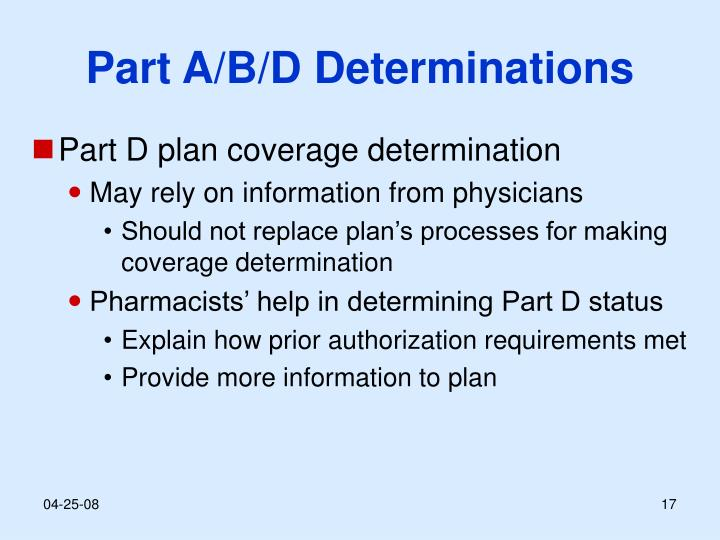 Part A/B/D Determinations