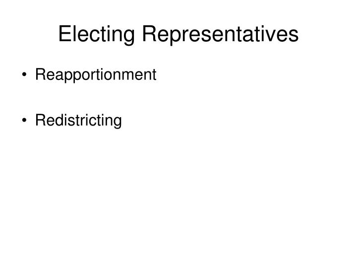 Electing representatives