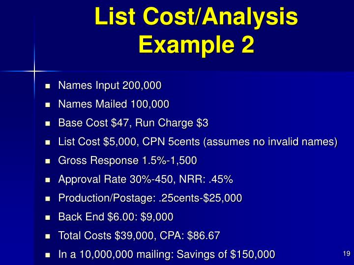 List Cost/Analysis Example 2