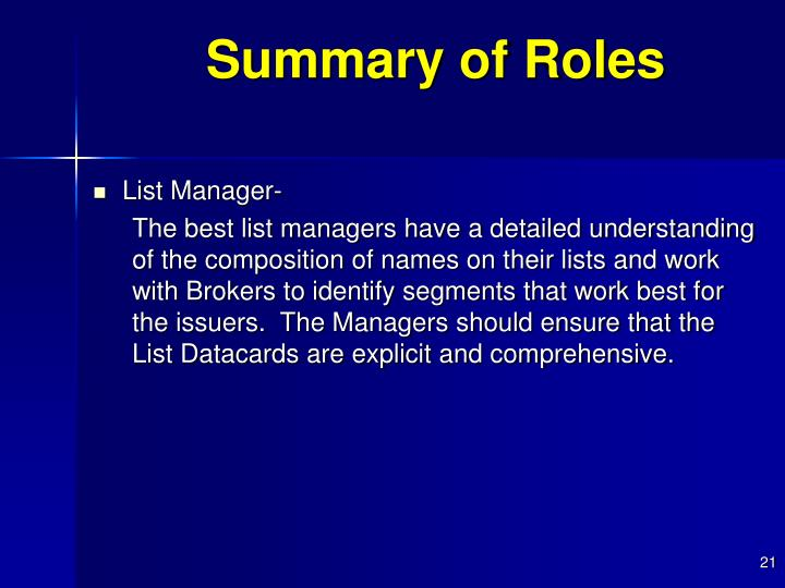 Summary of Roles