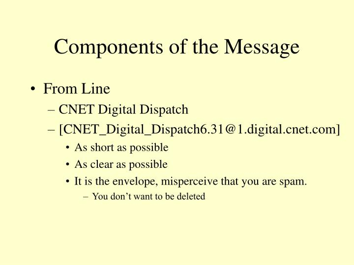 Components of the Message