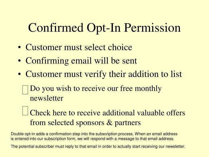 Confirmed Opt-In Permission