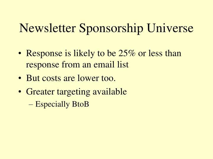 Newsletter Sponsorship Universe