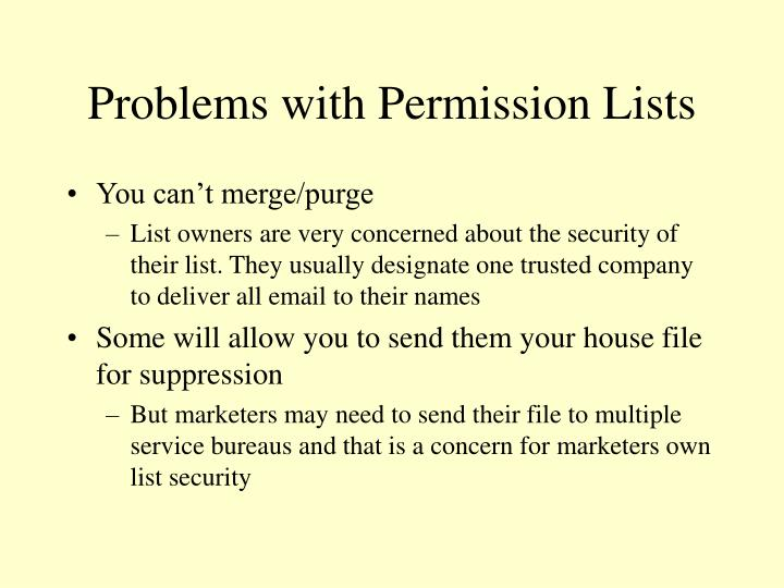 Problems with Permission Lists