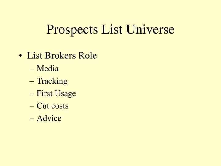 Prospects List Universe