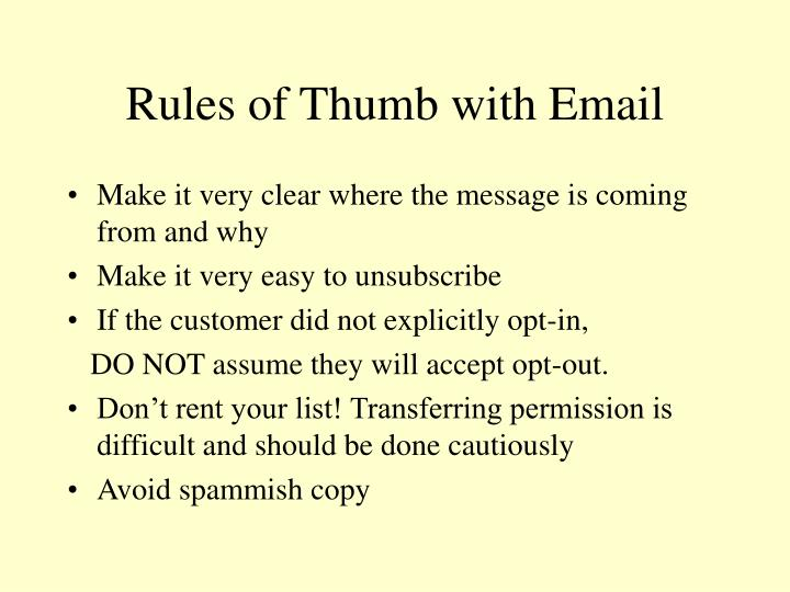 Rules of Thumb with Email