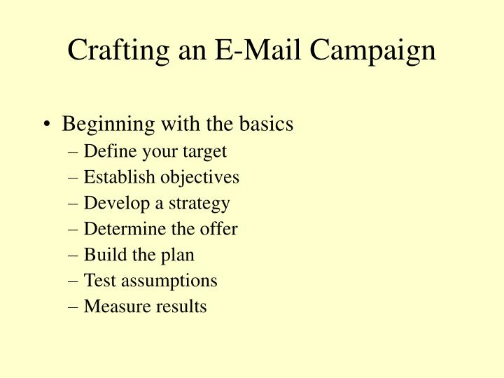 Crafting an E-Mail Campaign