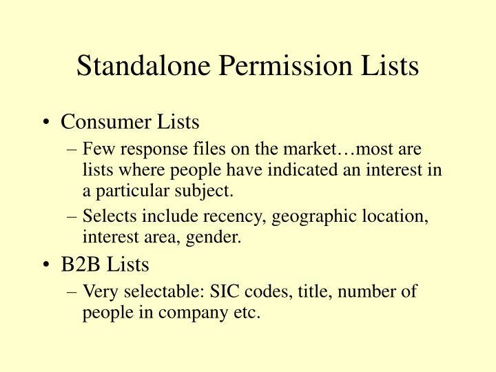 Standalone Permission Lists
