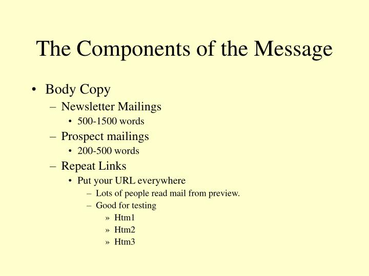 The Components of the Message