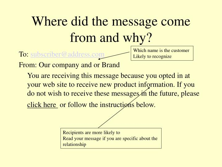 Where did the message come from and why?