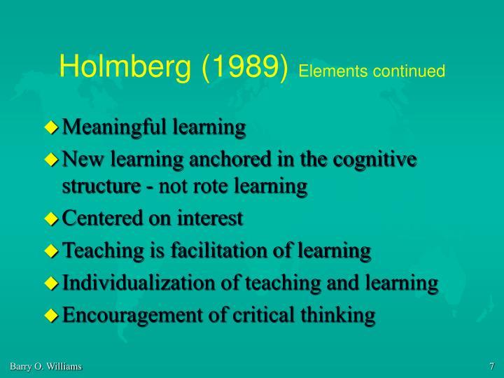 Holmberg (1989)