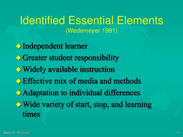 Identified Essential Elements