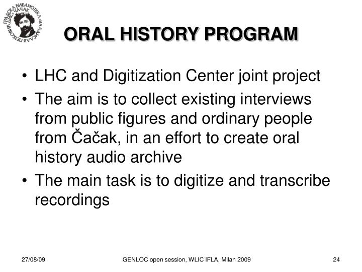 ORAL HISTORY PROGRAM